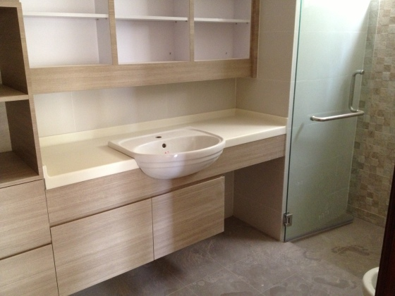 Vanilla coloured solid surface in our master bathroom, complete with a semi-recessed sink!